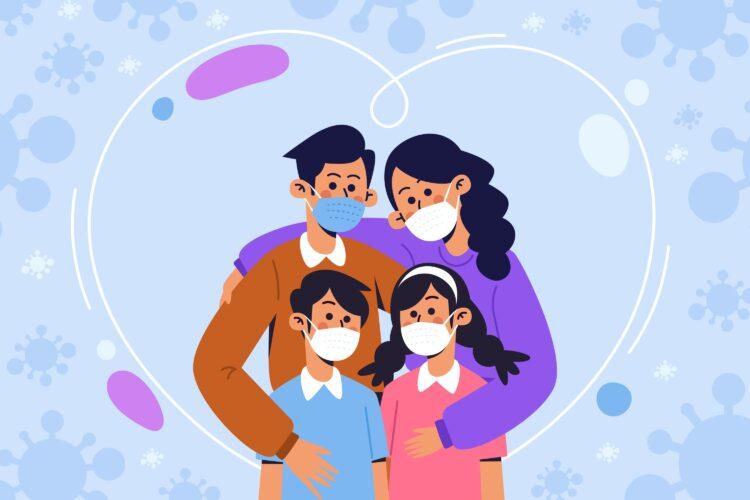 Desenho de Família com máscara