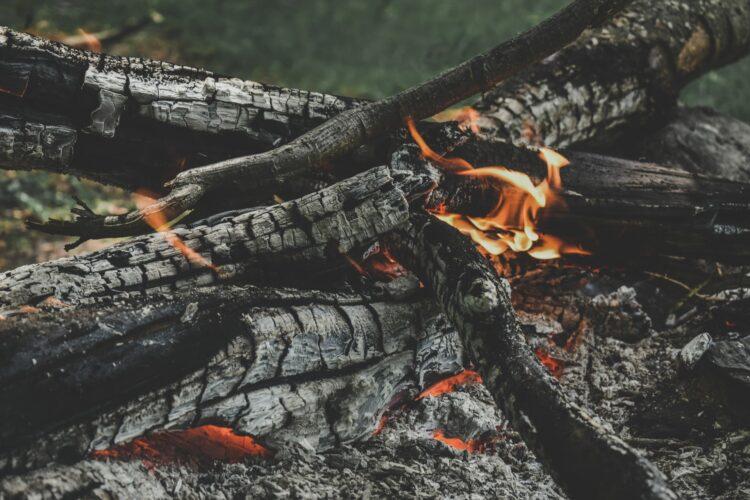 fotografia de lenha a queimar
