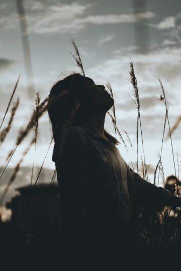 imagem de silhueta de senhora no meio do campo